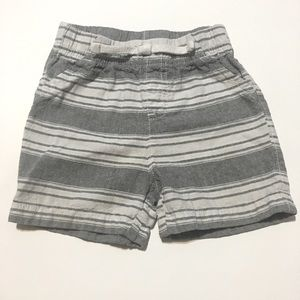 White and Gray Striped Shorts
